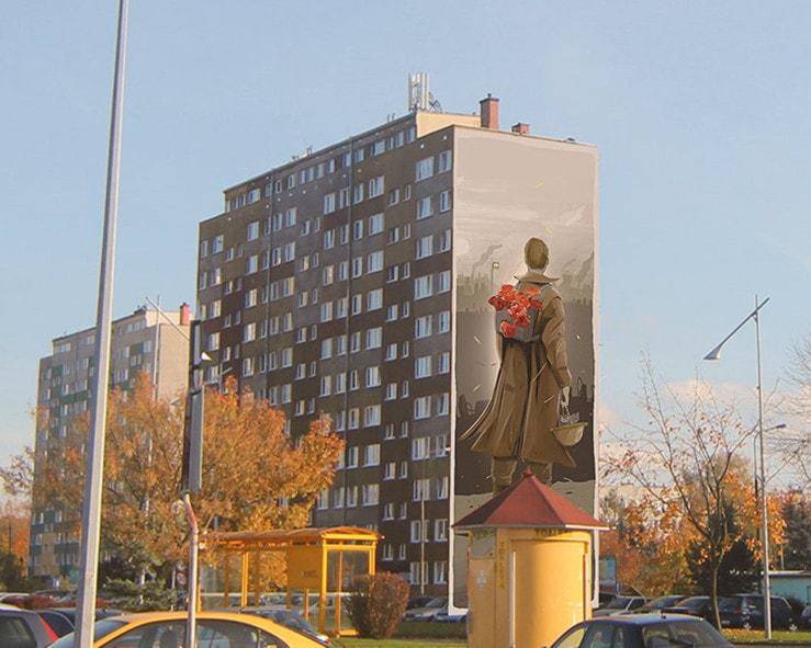 Mural z okazji 100 lecia niepodległości Polski w Polkowicach