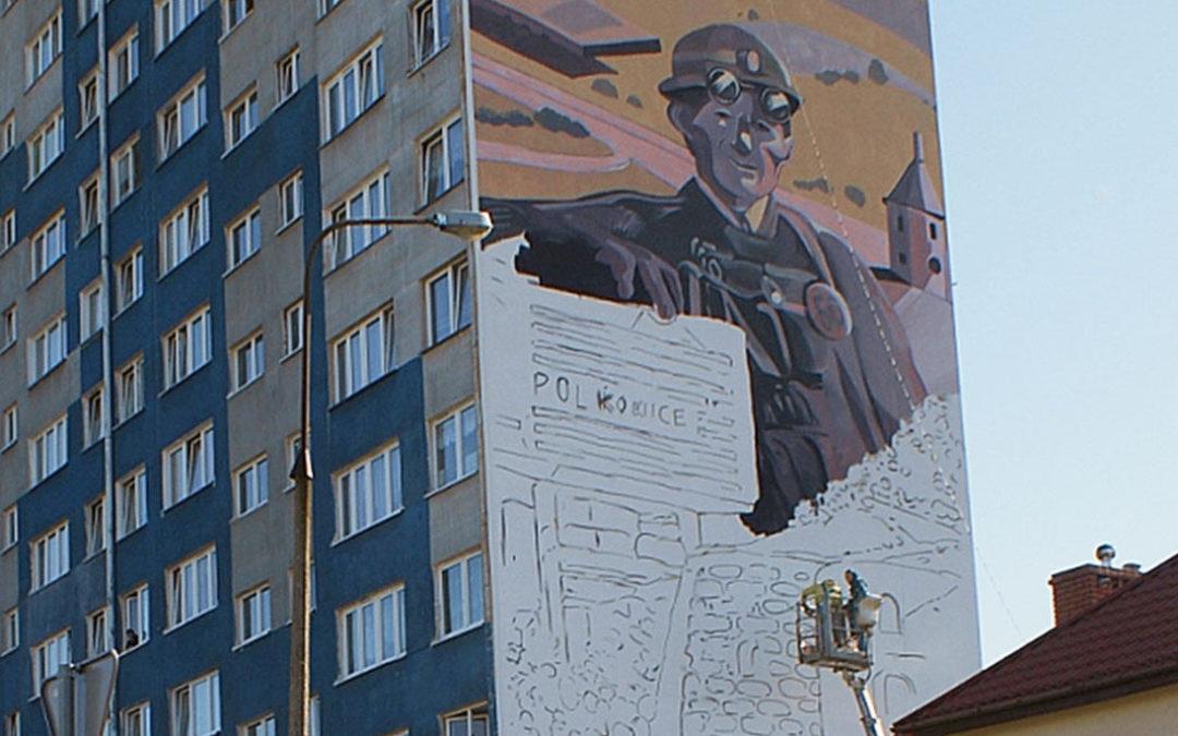 Powstanie muralu jest związane z 50. rocznicą odzyskania przez Polkowice praw miejskich