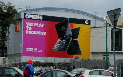 Mural reklamowy dla Hewlet Packard w Poznaniu